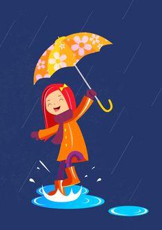 ♥ a rainy day Umbrella Art, Under My Umbrella, Walking In The Rain, Singing In The Rain, Rainy Day Fun, Rainy Days, Art Et Illustration, Illustrations, Images Emoji