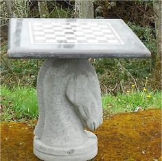 Concrete Chess Table Knight Base