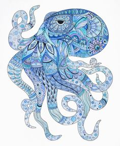 Octopus art, octopus zentangle, octopus wall art, blue art, home decor, blue home decor, sea creature art, octopus painting by JanineCawthorne on Etsy https://www.etsy.com/listing/470400684/octopus-art-octopus-zentangle-octopus