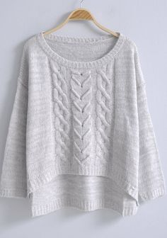 Light Grey Long Sleeve Loose Pullovers Sweater -SheIn(Sheinside)