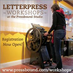 "@Melissa Gruntkosky's photo: ""I'm offering several workshops in my studio at the Porter Mill building in Beverly, MA this fall. I'm so excited! www.pressbound.com/workshops #letterpress #workshops #beverlyma #portermill"""