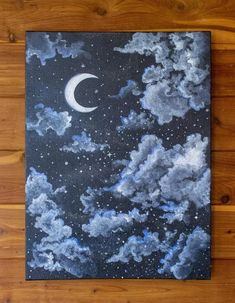 Serene Night Sky - Starry and Cloudy Moon Painting - Acrylic Painting - Bedroom Wall Art - Nu. Serene Night Sky - Starry and Cloudy Moon Painting - Acrylic Painting - Bedroom Wall Art - Nursery Decor - Unframed - Scenic Art , pintura Cute Canvas Paintings, Small Canvas Art, Mini Canvas Art, Simple Acrylic Paintings, Acrylic Painting Canvas, Diy Canvas, Paintings Of Nature, Ideas For Canvas Painting, Ocean Paintings