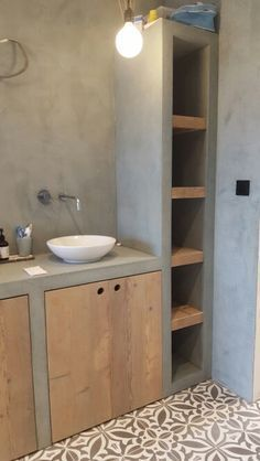 Modern Bathroom with wood and cement. Stunning DIY Interior Designs Informations About 54 Lighting Traditional Decor Style To Update Your Home - Home Decor Ideas Pin You can easily us Cement Bathroom, Bathroom Sink Bowls, Bathroom Toilets, Bathroom Storage, Small Bathroom, Bathroom Ideas, Bathroom Cabinets, Bathroom Modern, Bathroom Faucets