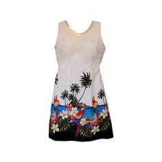 Parrot-Dise White Short Hawaiian Tank Floral Dress   #floraldress #hawaiiandresses #maxidress #hawaiiandress #sexyhawaiiandresses #hawaiianweddingdress #sundress