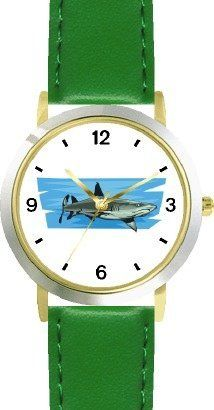 Shark No.2 Animal - WATCHBUDDY® DELUXE TWO-TONE THEME WATCH - Arabic Numbers - Green Leather Strap-Size-Children's Size-Small ( Boy's Size & Girl's Size ) WatchBuddy. $49.95
