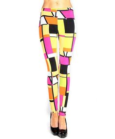 Loving this Yellow & Pink Geometric Leggings - Women on #zulily! #zulilyfinds