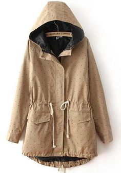 Khaki Polka Dot Drawstring Pockets Trench Coat