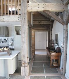 Barn house - loes be the tile mixed with hardwood and the kitchen, natural wood and light paint. Pole Barn House Plans, Pole Barn Homes, Barn Plans, House 2, Metal Building Homes, Building A House, Cabinet D Architecture, Barn Renovation, Barn Living