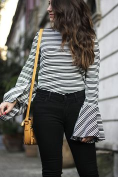 Bell Sleeves + Statement Sleeves + Jeans Outfit + Stripes Fashion + Jeans Fashion