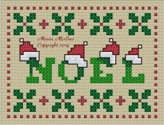 Christmas ornament Noel Holly in a free cross stitch pattern