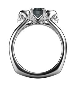 From our famous skeleton engagement ring collection comes Angels & Demons. In this design, the forces of good and evil are intertwined and