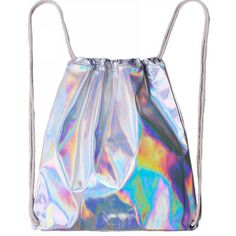 Holographic Drawstring Bag ($22) ❤ liked on Polyvore featuring bags, handbags, tote bags, holographic tote, holographic drawstring bag, holographic purse, drawstring bag and drawstring purse