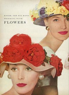 Lucinda Hollingsworth and Sunny Harnett wearing floral hats for Vogue f8ccb23106