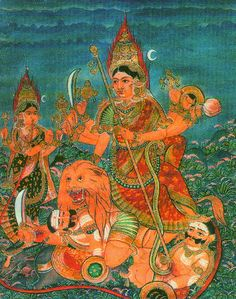 Durga Maa, Durga Goddess, Mysore Painting, Divine Mother, Amman, Ashtanga Yoga, Indian Paintings, Gods And Goddesses, Antiquities