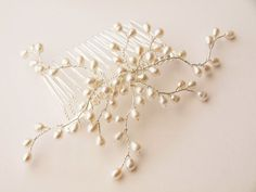 Bud Pearl Hair Comb Bridal Hair Accessories by jewellerymadebyme