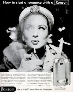 Suzy Parker for Ronson lighters, Suzy's sense of humor often came through in her shots, and this is one of the best examples. Sirens Fashion, Dorian Leigh, Ronson Lighter, Suzy Parker, Jean Shrimpton, Vintage Fashion Photography, Women Smoking, Vintage Advertisements, Vintage Ads