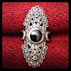 Vintage Beautiful Genuine Black ONYX MARCASITE by SilverUnique, $75.00