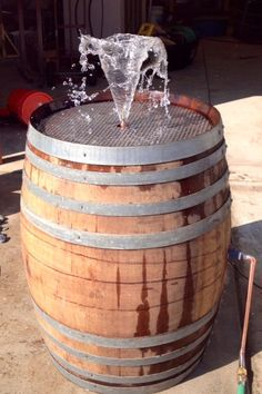 Wine Barrel Fountain with Bird Bath Feature by WyldatHeartCustoms, $595.00