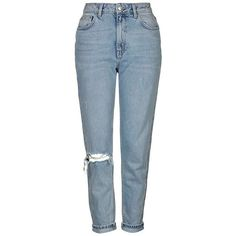 Topshop Ripped High Rise Mom Jeans ($80) ❤ liked on Polyvore featuring jeans, blue jeans, destructed jeans, high waisted distressed jeans, bleached jeans and topshop