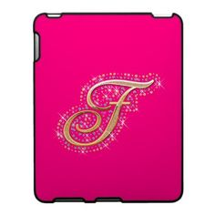 Pink and Cute iPad Case with Your Initial ''T''. Gold Gifts, Pink Gifts, Cute Ipad Cases, Kindle Case, Perfect Pink, Ipad 1, Personalized Gifts, Create Your Own, Diamonds