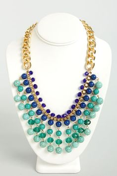 Blue and Teal Statement Necklace at LuLus.com!