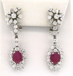 Impressive 18k Gold 4.50ctw Diamond Ruby Drop Earrings Featured in our upcoming auction on December 14, 2015 11:00AM EST!