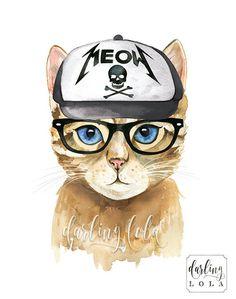 Cat Watercolor Print - Metal Meow Cat- Cat Art  - Cat Painting - Animal Art - Hipster - Rock N' Roll