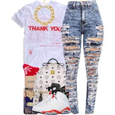 A fashion look from July 2014 featuring shirts & tops, high-waisted acid wash jeans and red hosiery. Browse and shop related looks.
