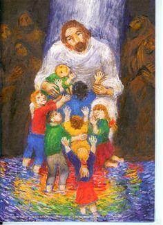 Jesus loves all the little children of the world! Sweet Prophetic Art painting.
