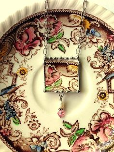 Broken china jewelry necklace antique aesthetic brown transferware with pearl and crystal