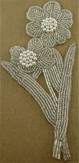 """Flower Single with Silver Beads 7"""" x 3.5"""""""