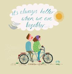It's always better when we are together - illustrated Valentine's Day Card by Primrose Place Art