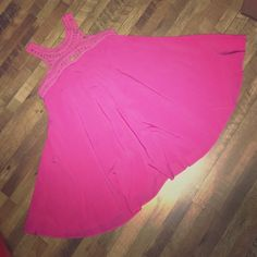 Hot pink flowy dress! Hot pink flowy dress. Never been worn. The Whispering Tree Dresses