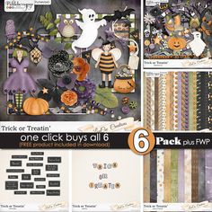One Click Buys All 6.  Nothing scary about this deal.  Click and scrap all things TrickOrTreatin.  7 Packs for $6 through Monday 10/19 ONLY at #PickleberryPop.  Let's get to scrappin' #LouceeCreations