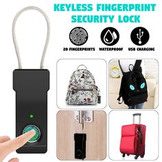 Portable USB Rechargeable Electronic Lock Anti-Theft Security Fingerprint Lock Luggage Lock Smart Waterproof Suitcase Pa - So Funny Epic Fails Pictures Electronic Lock, Gold Labels, Suitcase, Usb, Electronics, Bags, Cameras, Things To Sell, Funny