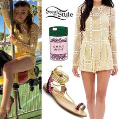 Peyton List attended Day 3 of Coachella wearing an Alice McCall Stolen Dance Playsuit ($390.00), a Ban.Do Chills Pills iPhone Case ($32.00), and Stuart Weitzman Lasso Sandals ($365.00 – wrong color).