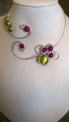 Wedding jewelry Alu wire necklace Fuchsia von LesBijouxLibellule