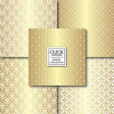 Gold & White Digital Paper: WHITE GOLD DAMASK by ClickDesigns