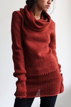 Fine long knitted sweater/tunic w/ loose cowl -  www.2dayslook.com