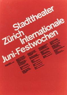 Stadttheater Zürich, Internationale Juni-Festwochen, Zürich by Muller Brockmann Josef / 1964