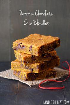 Pumpkin Chocolate Chip Blondies from Handle the Heat @Handle the Heat | Tessa Arias