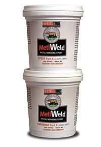 MetlWeld is a super tough epoxy adhesive designed to bond dissimilar materials such as steel to wood. MetlWeld exhibits excellent elastic properties and superior bond strength while remaining rigid. MetlWeld will bond to stainless steel, galvanized steel, aluminum, copper, glass, ceramic, neoprene rubber and most porous surfaces.
