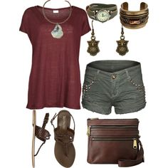 """Maroon olive green summer outfit"" by laura-blakney on Polyvore  Marion dark rusty red olive green tee shirt v neck studded shorts military chic casual leather brown sandals watch bangle bracelet owl earrings bronze burnished gold metallic Fossil Explorer Crossbody expresso vintage look casual summer laid back style comfortable outfit"