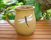 Lovely Handmade Golden-Brown Stoneware DRAGONFLY Coffee Mug