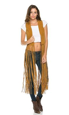 Ultra Fringe Suede Maxi Vest in Tan at Amazon Women's Clothing store:
