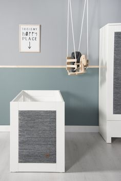 Our baby crib and cupboard with panels from our River collection in grey melee. Lovely matched with our wall paint colour stone green.