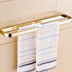 Achetez (Entrepôt UE) Style moderne simple Accessoires de salle de bain en cuivre Double barre de serviette d'or avec le Meilleur Prix et le Meilleur Service!