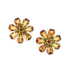 A pair of citrine and demantoid garnet ear clips