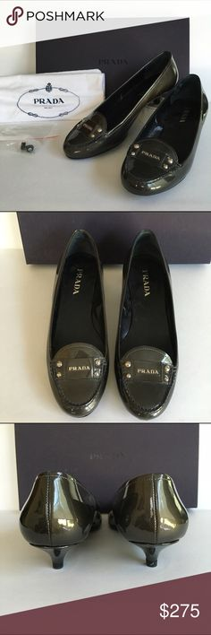 PRADA patent leather kitten heels PRADA slate grey patent leather kitten heel pumps worn once...just a tiny bit too short but I just HAD to have them! Size 6. Come with original shoe box, soft fabric storage bag for each shoe, extra heel tips. Absolutely adorable. Saks price was $460. Prada Shoes Heels