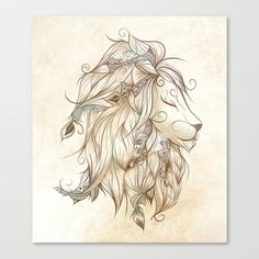 Poetic Lion  Stretched Canvas by LouJah - $85.00